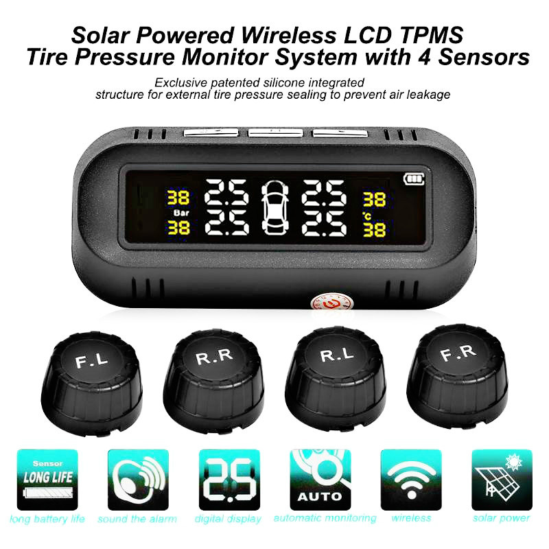 Tyre Pressure Sensor With 4 External Sensors Temperature Warning Fuel Save Tire Pressure Monitoring System Solar LED Wireless