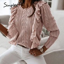 Simplee Knitted sweater women autumn winter Long sleeve  ruffled fashion female sweater Ladies fitted  pink pullover jumpers
