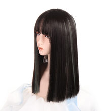 Long Straight Synthetic Wigs Black Brown Ombre Light Green Grey Hair Wigs With Bangs for Woman High Density Heat Resistant Wigs(China)