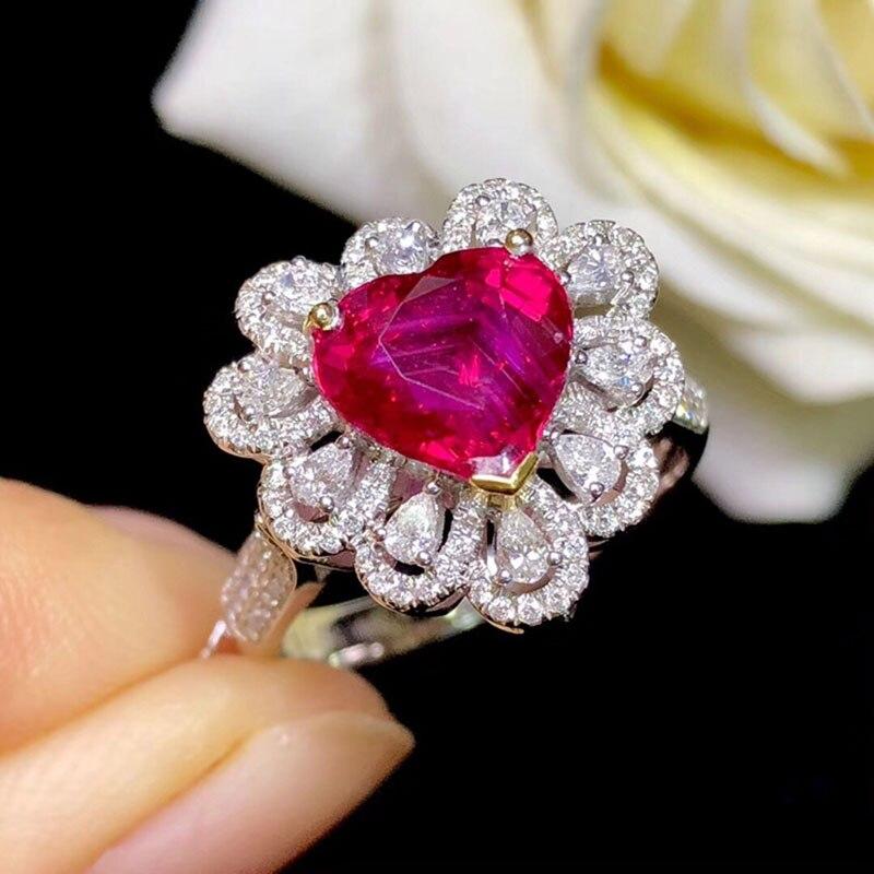 Le laboratoire d'anneau en or 10K a créé la bague de diamant de rubis et de Moissanite de 2ct avec le certificat national Ru-003 - 2