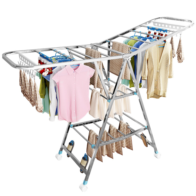 stainless steel clothes drying rack floor folding indoor household clothes clothes hangers balcony baby quilt drying stand