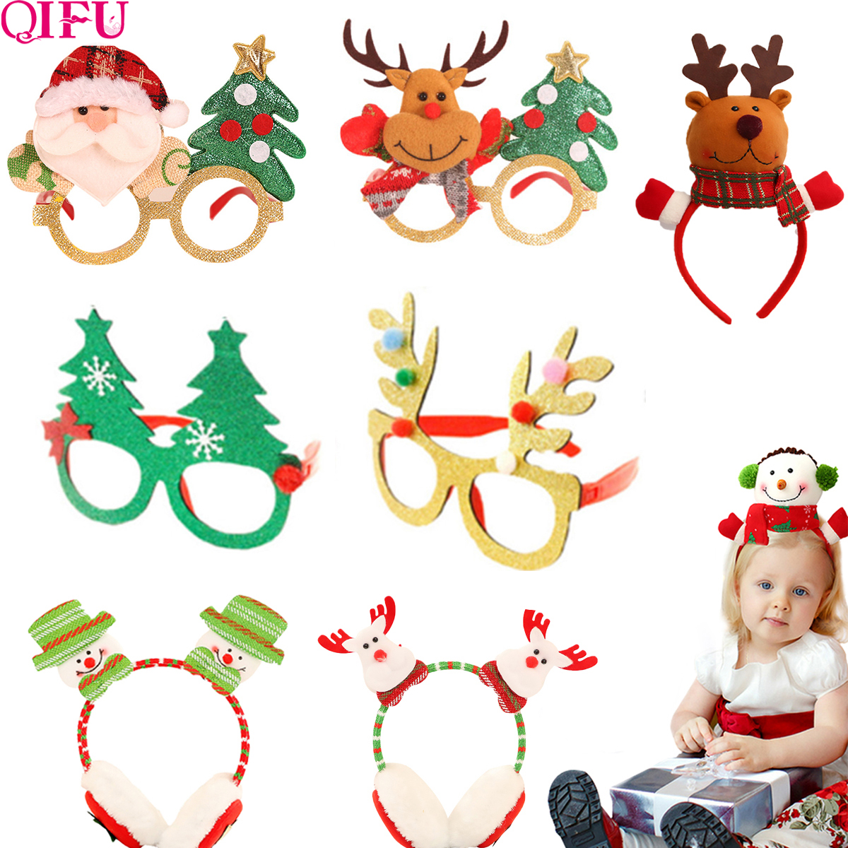 New Christmas Items 2020 QIFU 2019 christmas glasses Frame Headband Christmas Ornaments