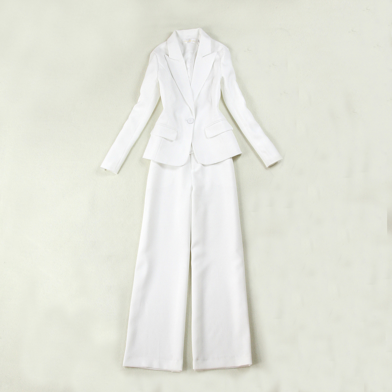 Professional Women's Suits Two-piece 2019 Autumn New Slim Size White Suit Jacket Female High Waist Straight Wide Leg Pants Suit