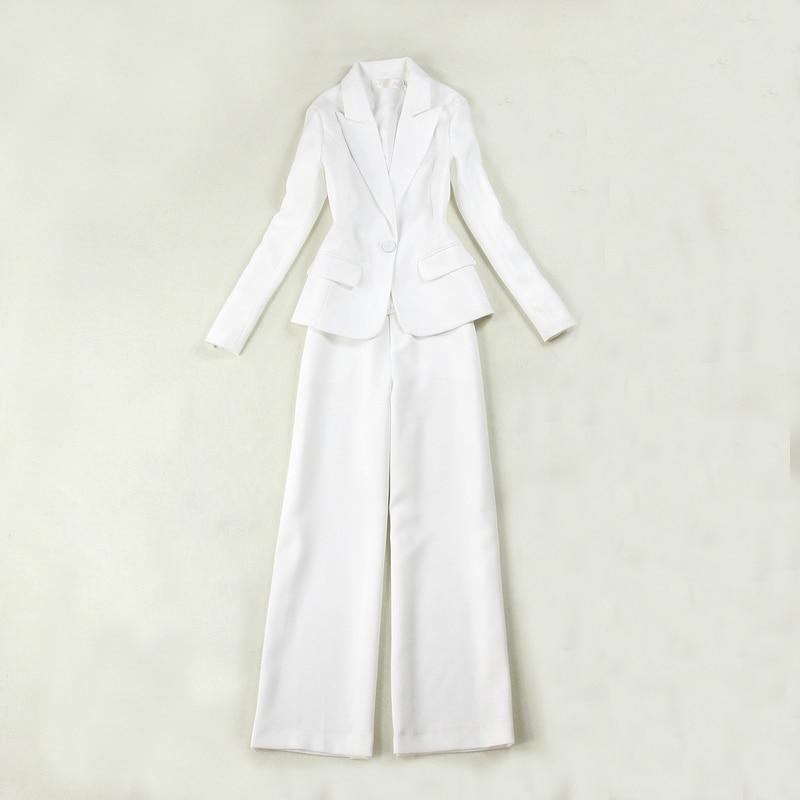Professional Women's Suits Two-piece 2019 Autumn New Slim Size White Suit Jacket Female High Waist Straight Wide Leg Pants Suit