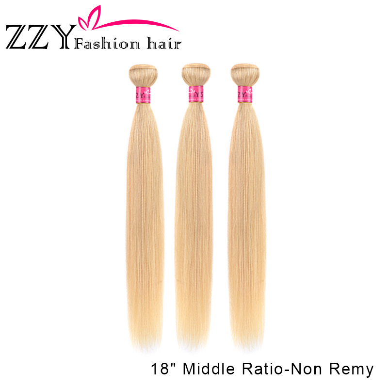 ZZY Fashion Hair 613 Blonde Straight Hair Brazilian Hair Weave Bundles Non-remy Human Hair Extensions 10-26 Inches