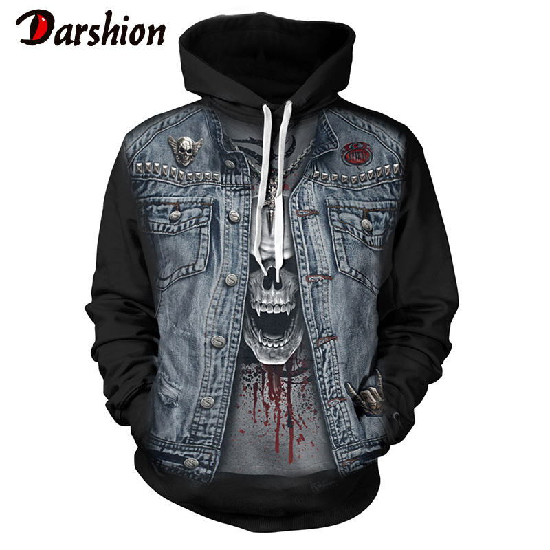 2019 New Gothic Skull Hoodie Men's Hip Hop Hoodie Men / Women's Thin 3D Sweatshirt Print Fake Denim Jacket Skull Hoodie Pullover