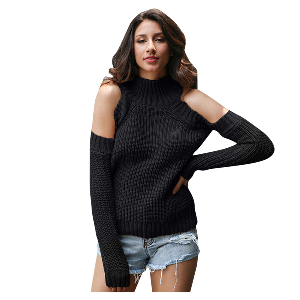 JAYCOSIN Halter Strapless Sweater Women Casual Loose Solid Color Halter Strapless Blouse Pullover Sweater Acrylic Winter