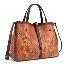 Vintage Embossed Flower Genuine Leather Female Handbag Women Shoulder Bag Hand-colored Ladies Crossbody Cowhide Bags Sac A Main vintage genuine leather women handbag messenger bags for women 2018 natural leather handbag sac a main female hand bag women