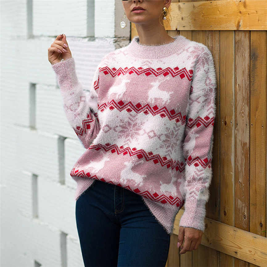 Women Sweater Plus Size Christmas Clothes For Family Women Christmas Sweater Long Sleeve O-Neck Christmas knitting Pullover Tops