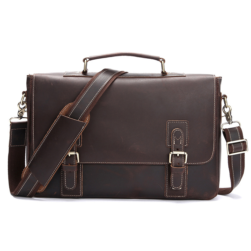 Hand made Genuine Leather 15 Business Top handle Briefcases Men s Handbag Crossbody Shoulder Bag Men