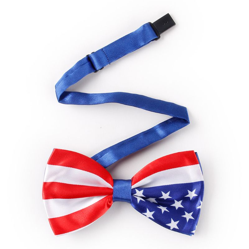 Mens Imitation Silk Pre-Tied Bow Tie Stars Stripes Printed American Flag Double Layer Bowknot Adjustable Patriotic Party Props