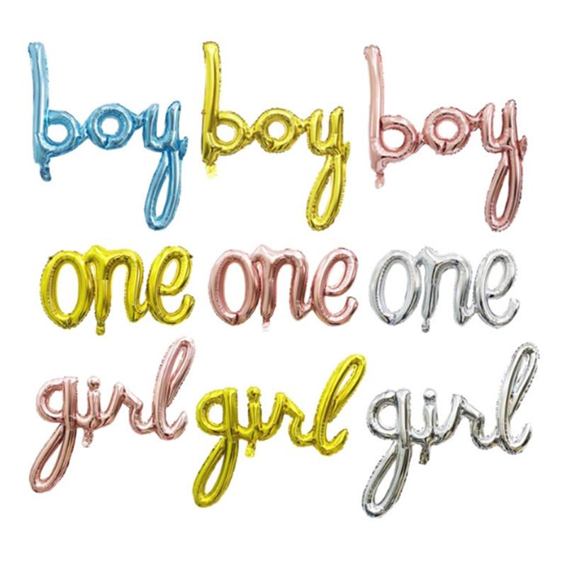 1 шт., воздушные шары из розового золота с надписью «ONE Boy Girl Baby»
