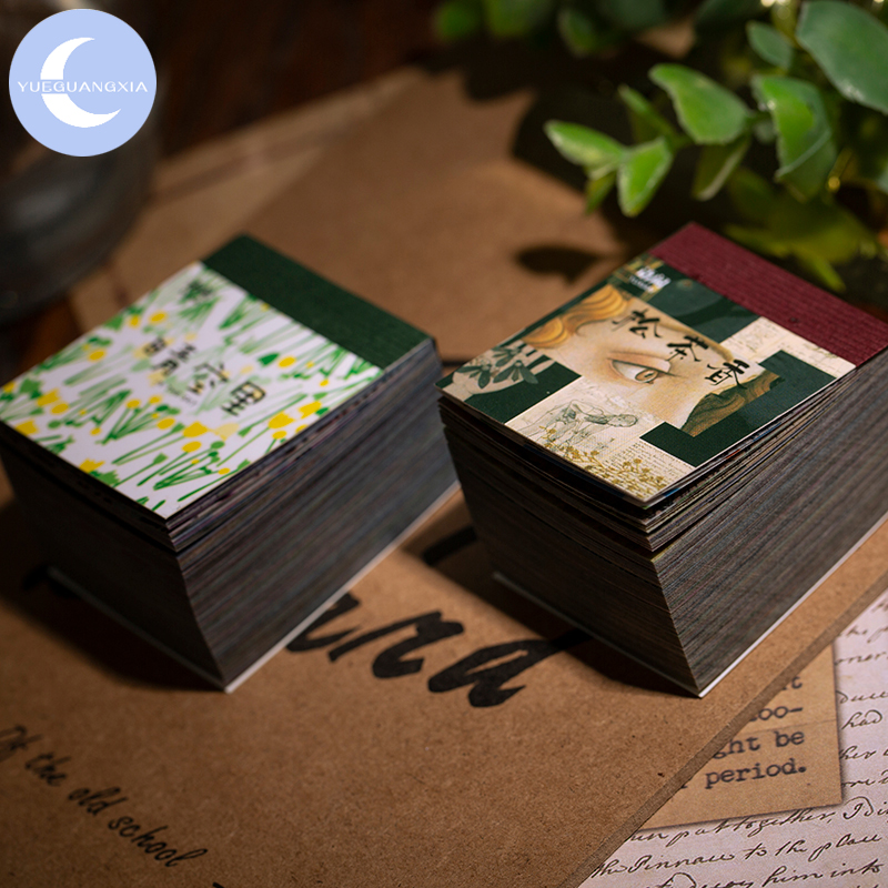 YueGuangXia 365pcs Vintage Newspaper Flowers Kraft Card Journaling Bullet DIY Scrapbooking Butter Material Paper Retro Post Card