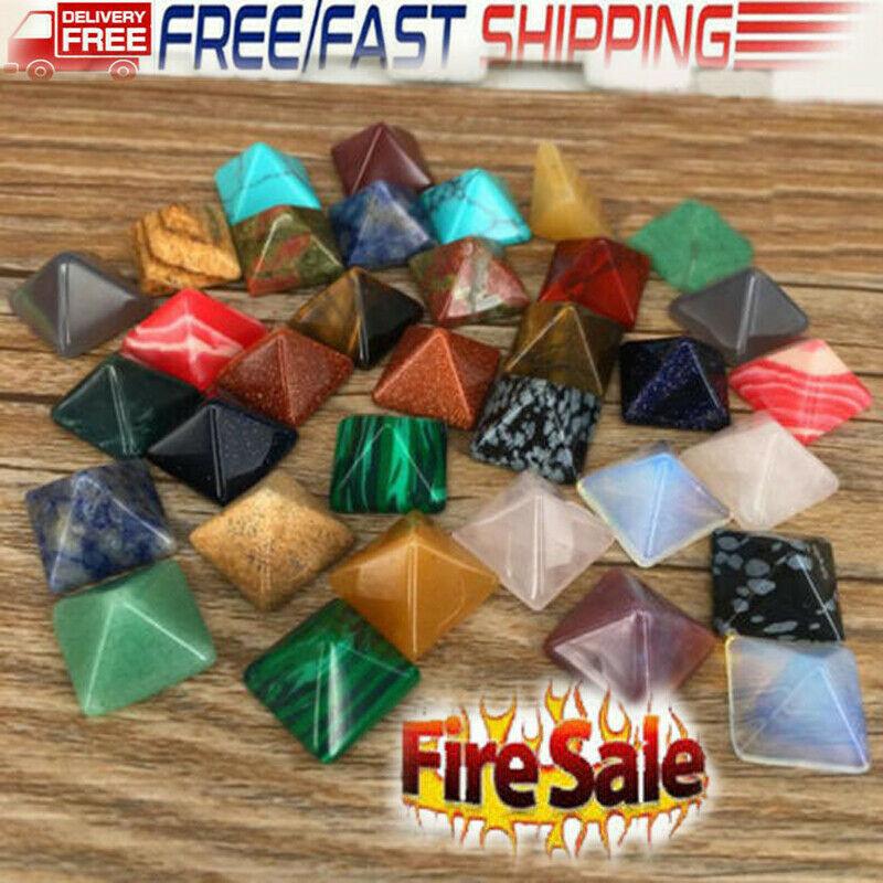 10Pcs/lot Pyramid Gemstone Natural Stone Crystal Quartz Healing Point Chakra Rough Natural + Tumbled Stone Set