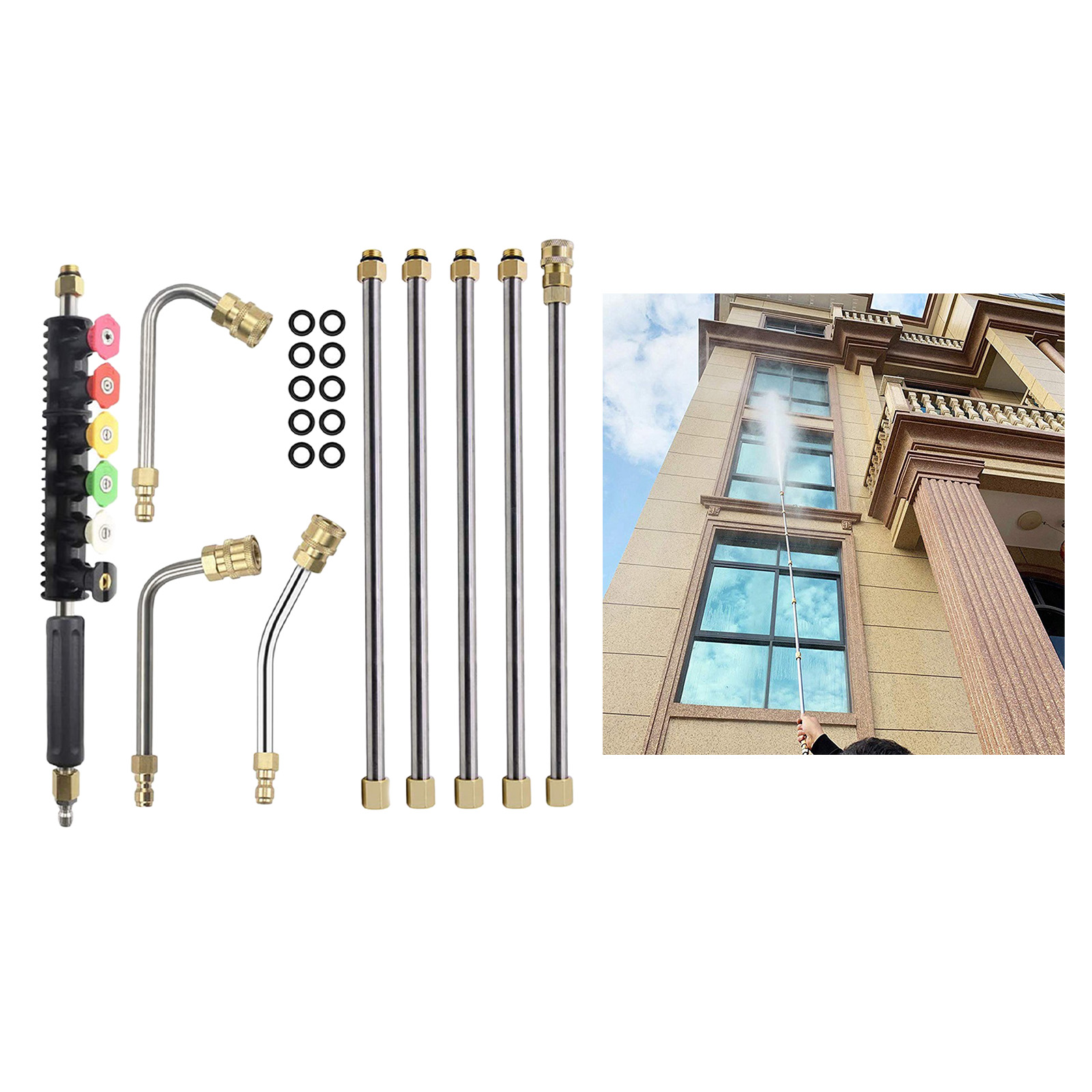 Pressure Washer Extension Wand,Power Washer Lance with Spray Nozzle Tips,30°,90°,120° Curved Rod,1/4