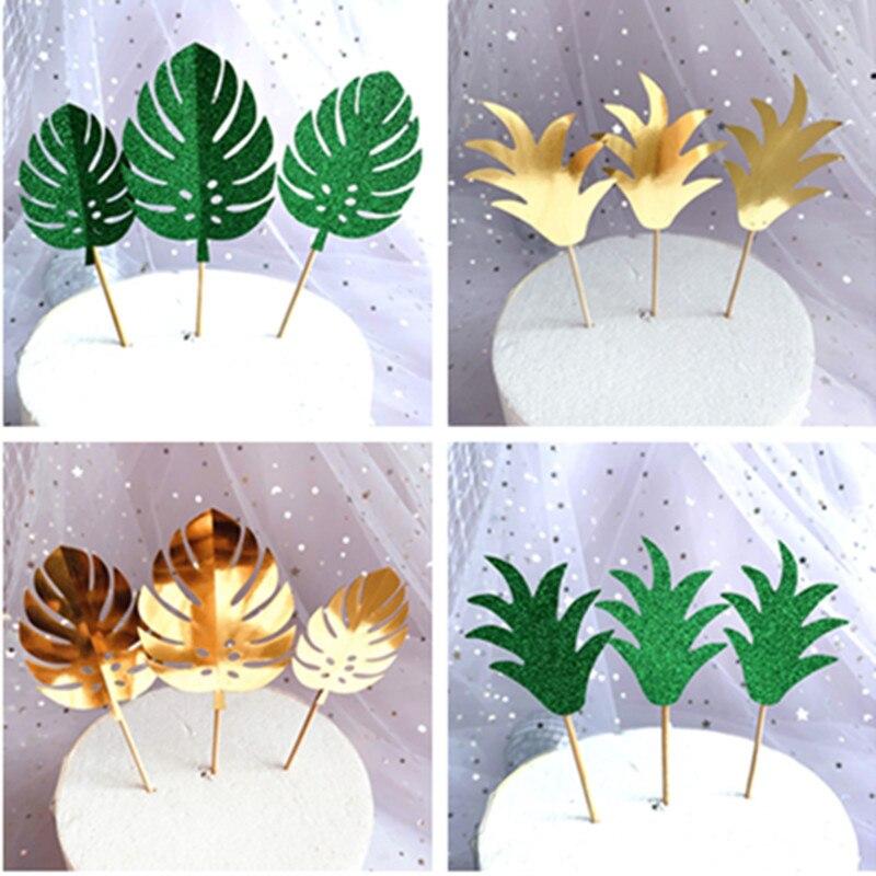 3 шт. блестящие тропические растения зеленые Золотые листья монстеры для торта для вечеринки в джунглях Топпер для торта «С Днем Рождения» ...