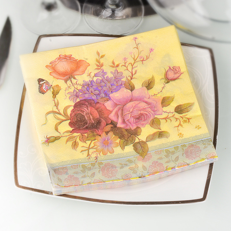 Yellowish Flower Printed Napkin 20 PCs Pure Wood Pulp Tissue Hotel Restaurant Wedding Banquet Paper Napkin A Generation Of Fat
