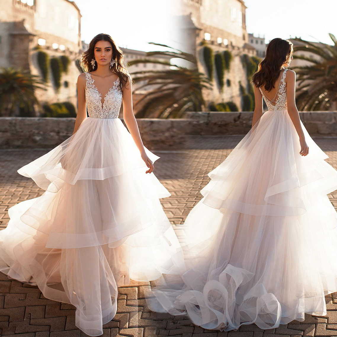 Wedding Dresses 2021 Mrs Win Classic Sexy V-neck Court Train Wedding Gown Sexy Illusion Vestido De Noiva Robe De Mariee