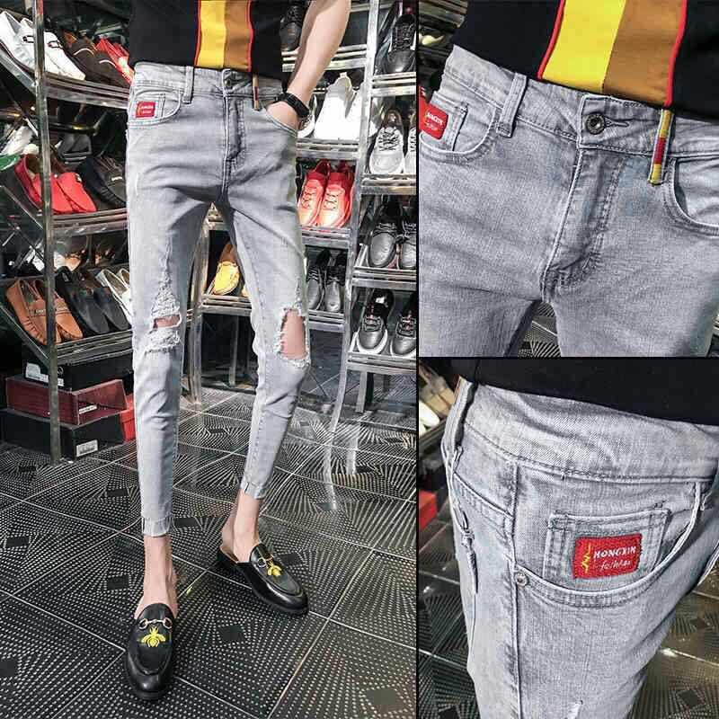 Men's Jeans Summer Fashion Asual Washing Grey Cropped Pants Ripped Hole Trendy Slim Skinny Jeans Men Social Guy Pencil Pants
