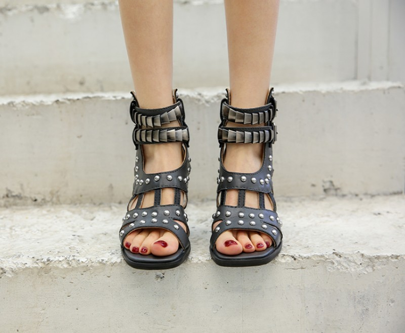 vintage verão sandálias de salto alto bloco