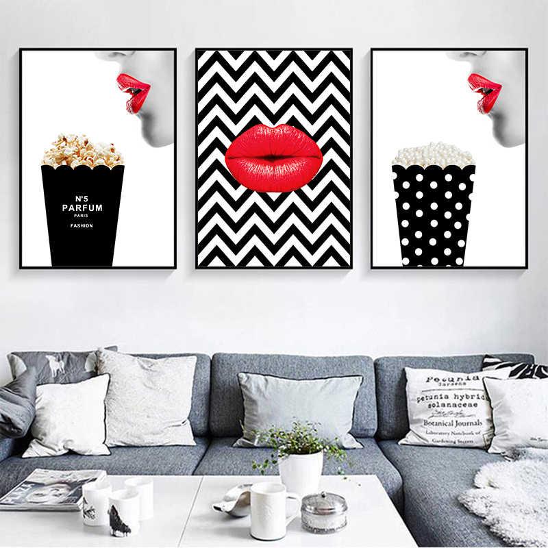 포스터 인쇄 빈티지 캔버스 회화 블랙 향수 벽 사진 거실 패션 아트 양재 빨간 입술 홈 인테리어