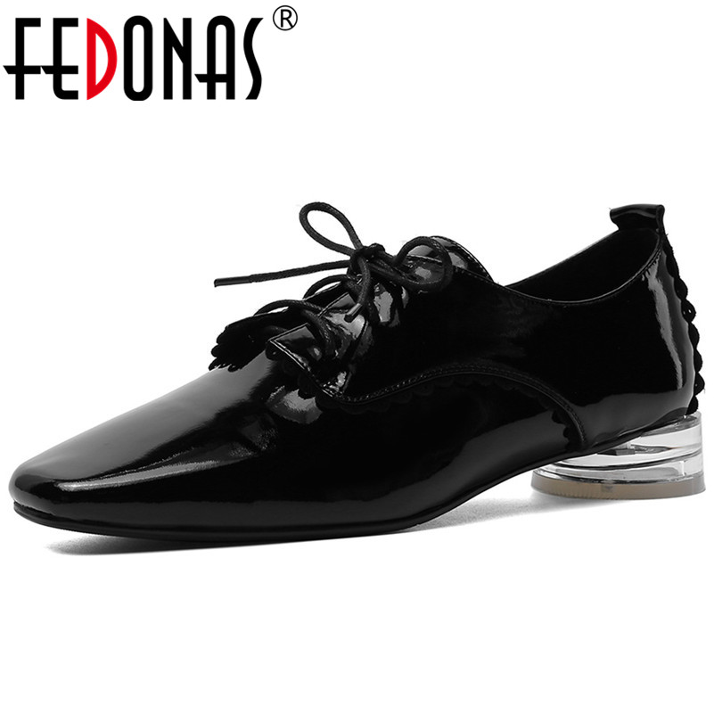FEDONAS Spring Autumn Women Square Toe Pumps Genuine Leather High Heels Casual Office Shoes Woman Rome Big Size Neutral Shoes