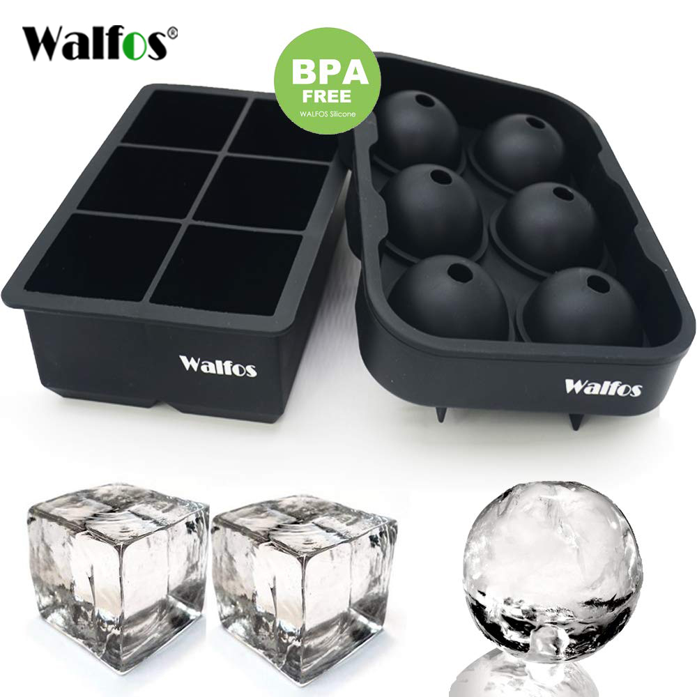 WALFOS Large Size 6 Cell Ice Ball Mold Silicone Ice Cube Trays Whiskey Ice Ball Maker 6 Silicone Molds Maker For Party Bar