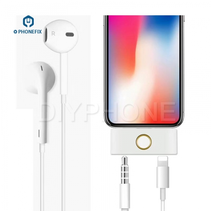 External Home Button 3.5mm Audio Jack Headphone Converter For IPhone X 8 7 6 6S 5 Converter Support Listening Music +Charging