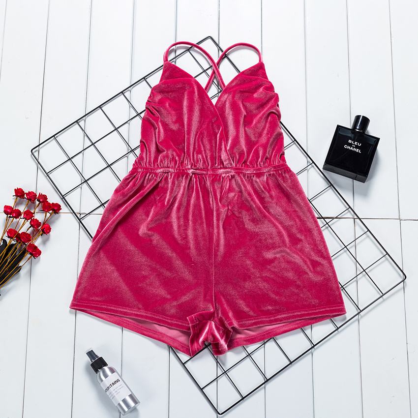 Suphis Backless Cross Spaghetti Strap Playsuits Rompers Women Sexy Bodysuits Pink Velvet Summer Rompers Jumpsuits Ladies 2020
