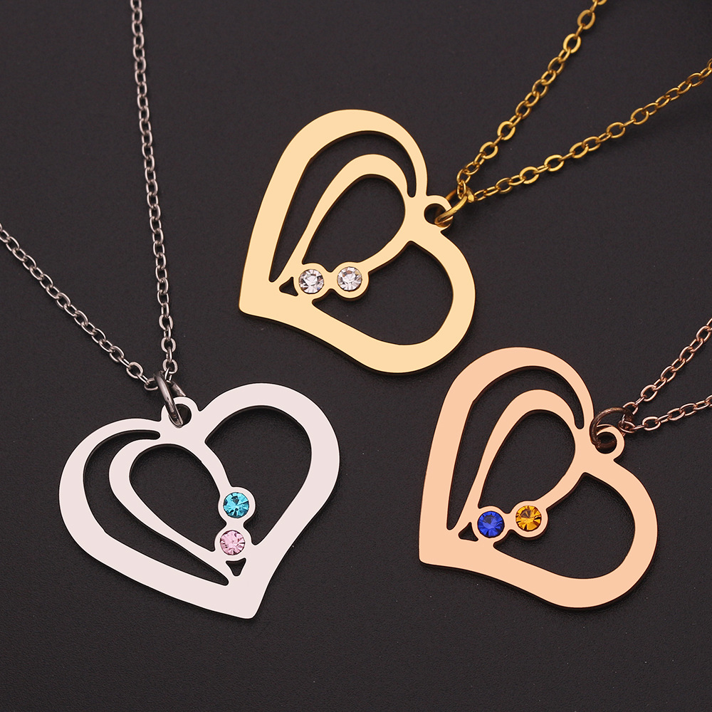HIYONG Personalized Gold Silver Handmade Simple Crystal Metal Carving Necklace Heart Pendant Custom Jewelry for Women Lovers