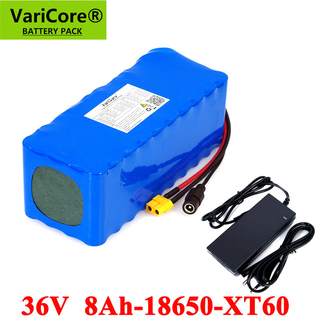 VariCore 36V 8Ah 500w 18650 Rechargeable battery pack XT60 plug modified Bicycles,electric vehicle Balance car+ 42v 2A Charger