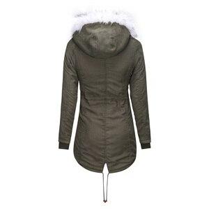 Image 5 - Vrouwen Jas Lange Overjassen Winter Warme Dikke Vrouwelijke Toevallige Militaire Bont Tops Jassen Dropshipping