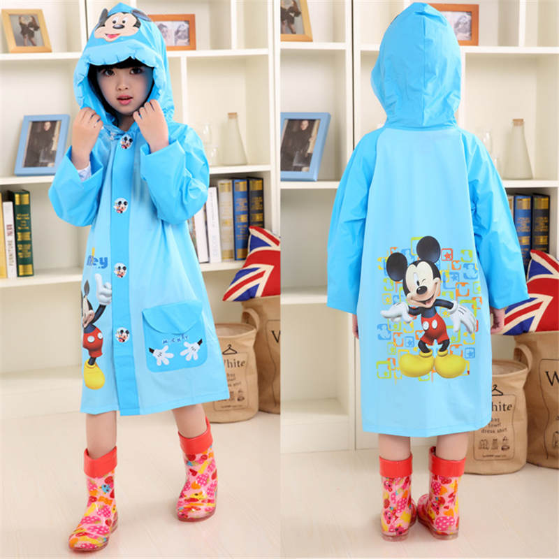 Mickey Kids Raincoat Outdoor Inflatable Cap Children Frozen Minnie Boy Rain Rainproof Poncho Child Riding Rainsuit