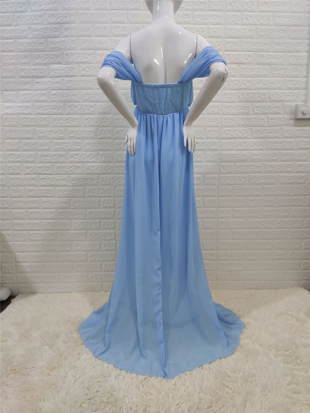 Shoulderless Sexy Maternity Dress Photo Shoot Long Pregnancy Dresses Photography Props Lace Chiffon Maxi Gown For Pregnant Women (18)