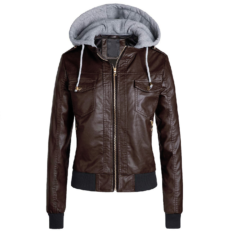 Women Leather   Jacket   Winter 2019 Brown Ladies   Basic     Jackets   Coats Warm Thicken Female Motorcycle   Jacket   For Girls Plus Size 3XL