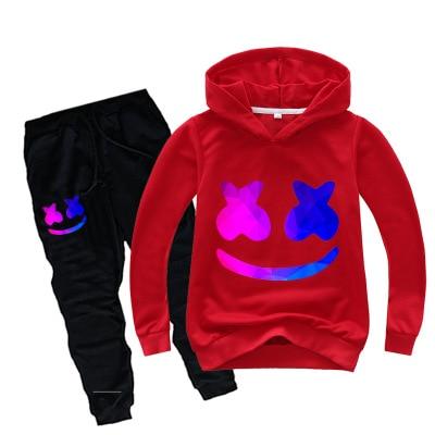 Movie Marshmello Cosplay DJ Chris Comstock Doctom Kids Costume Boys Girls Top Pants Sets Casual Hoodie Halloween Sweatshirt