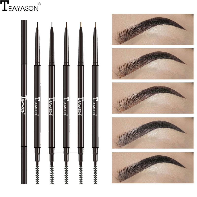 Teayason Double Ended Super Slim Eyebrow Pencil & Eyebrow Brush Waterproof Long Lasting Black Brown Eyebrow Tatoo Pen Cosmetics