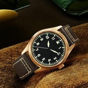 Image 4 - San Martin Men Bronze Mechanical Pilot Watches Luminous dial Scale 200m Waterproof Sapphire Glass Leather Strap Male Wrist watch