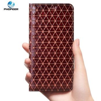 Diamond Pattern Genuine Leather Case For Xiaomi Mi Max 2 3 Mix 2 3 2S Note 2 3 Play PocoPhone F1 Black Shark 1 2 Flip Cover