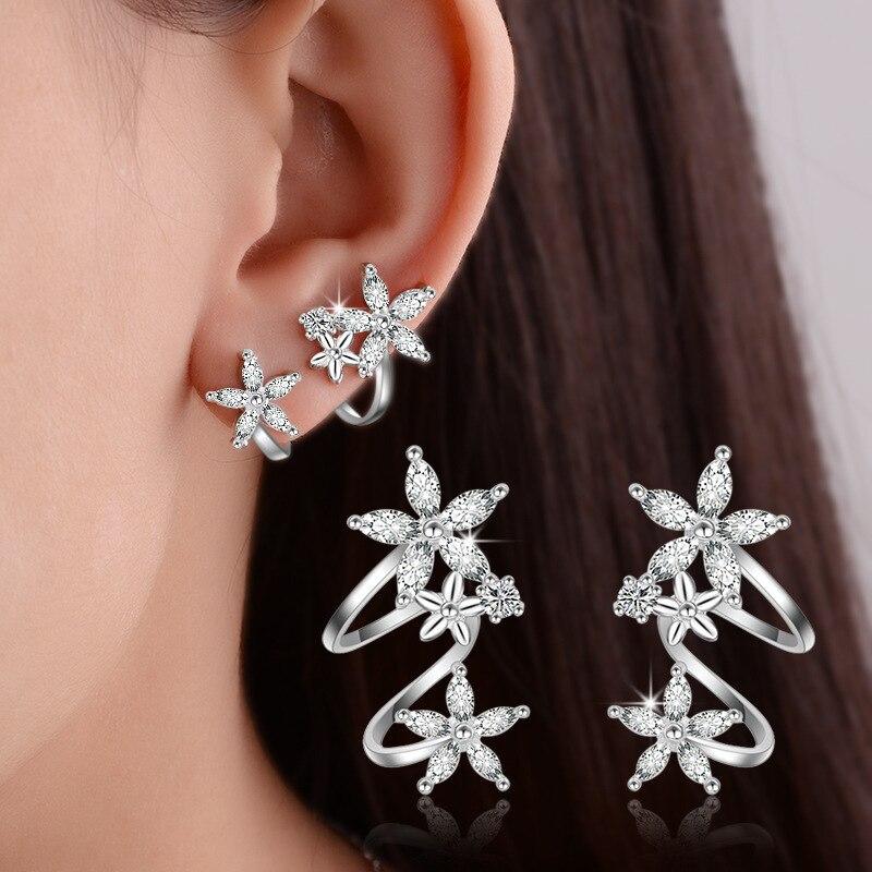 Korean sweet  flower ear stud zircon earnail temperament woman simple cuff rhinestone earrings jewelry