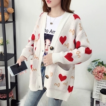 Women Knitted Cardigan Sweater Jacket Love Cute Pattern Girl Soft Sweet Pocket Coat New