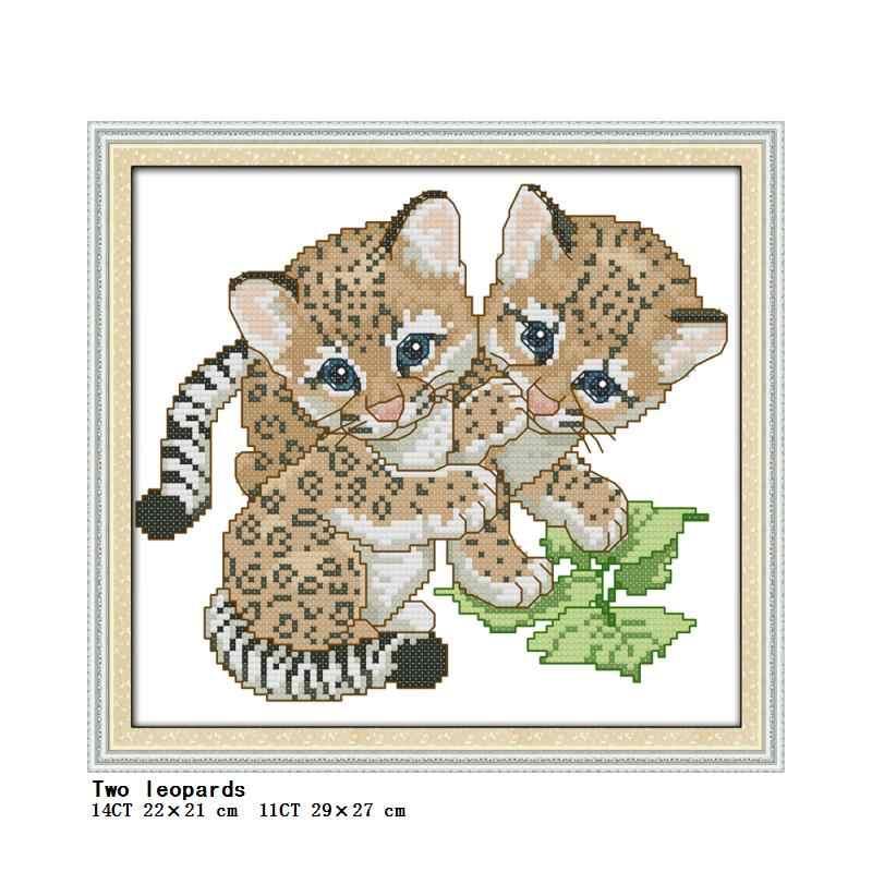 Tijger Luipaard Ijsbeer Dier Patronen Gedrukt Kruissteek Kit 14CT 11CT Gedrukt Op Doek Kruissteek Diy Borduurwerk Set