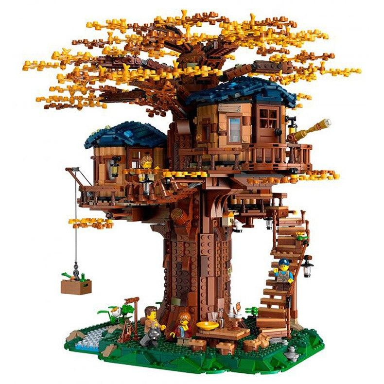 Ideas árbol casa modelo deja dos colores de bloques de construcción ladrillos de Navidad regalos para chico Compatible Legoinglys amigos 21318