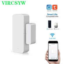 Vircsyw tuya inteligente wi fi porta sensor aberto/fechado detectores interruptor magnético janela sensor de segurança em casa alerta alarme segurança