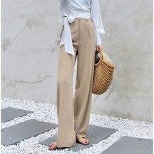 Pantalon à jambes larges pour femme, taille élastique, élégant, kaki, violet, gris, printemps-été, 170-175cm