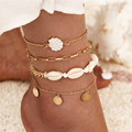 Modyle новые богемные в виде ракушки браслеты для женщин монета золотого цвета цепочка браслет на ногу многослойный браслет на ногу пляжные но...