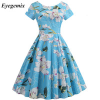Summer Floral Print Elegant A line Party Dress Women's Slim Blue Short Sleeves Swing Pin Up Vintage Dresses Plus Size Robe Femme