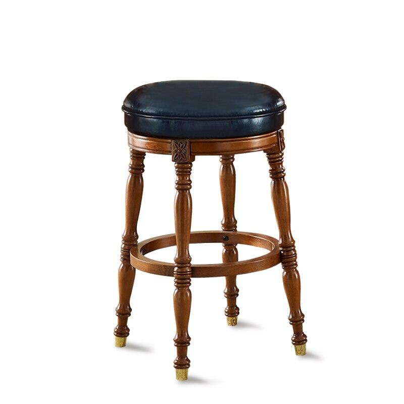 American Bar Chair Light Luxury Solid Wood European Back Bar Stool Northern European Household Modern Simple High Stool   - title=