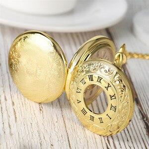 Image 3 - 高級ゴールドアンティーク機械式スケルトン懐中時計ダブルオープンサイドローマ数字ペンダント fob チェーンリロイ · ド · Bolsillo