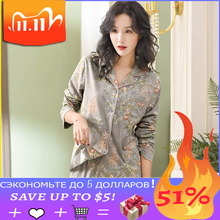 Piżama dla kobiet 2020 nowy 100% czystej bawełny kobiety odzież domowa XXXL szary kwiatowy rozpinany sweter Top + długie dna 2 sztuk kobiet piżamy